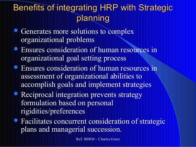 hrm integration with strategic management The important role of strategic human resource management (ie the linking of human resource management (hrm) practices, systems and policies with the strategic initiatives of the company) as an effective mechanism for coping.