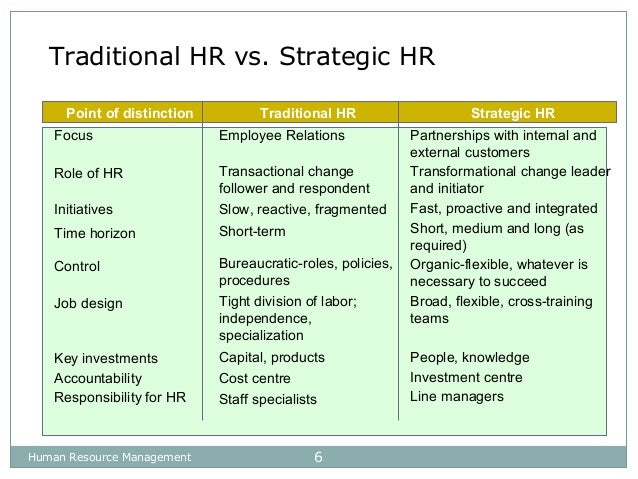 what is the difference between traditional and strategic human resources management and which provid