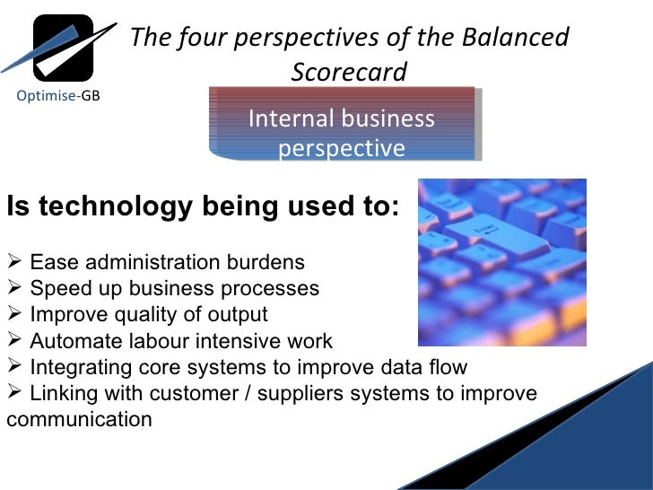 most difficult aspects of simultaneously balancing the four perspectives in the balanced scorecard Balanced scorecard analysis strategy and objectives to address four perspectives, and cascades the strategies into.