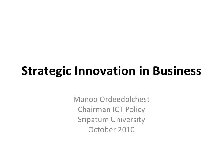 Strategic innovation in business