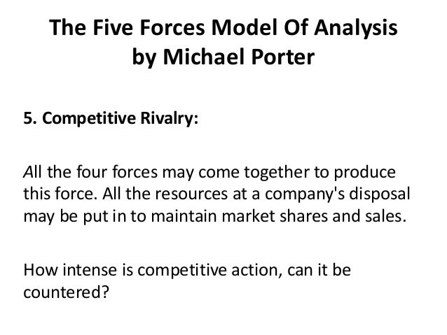 an analysis of michael porters five competitive forces and their applications Adapted from porter, m (1980) competitive strategy competitive structure of an industry using michael porter's five forces porter's five-forces model of competition expands the arena for competitive analysis historically.