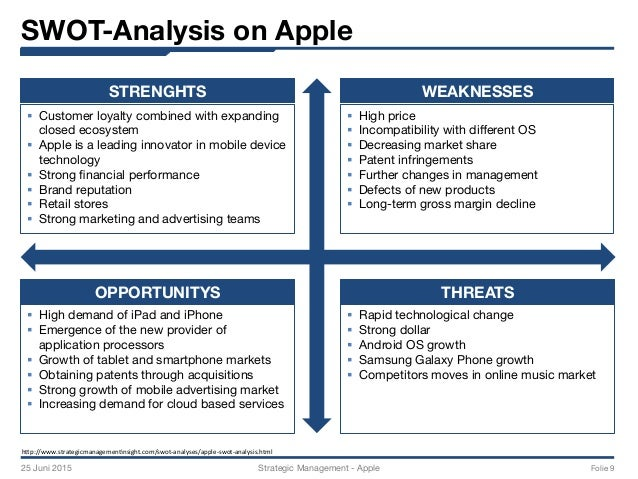 "a swot and competitive analysis of apple inc On the other hand, company's margins can be affected by extreme competition ( data monitor, 2006) table 4: swot analysis of apple source: strategic management insight 321 strengths the major strength of apple has its strong market position and consumer trustworthiness which raises due to ""apple's ecosystem""."