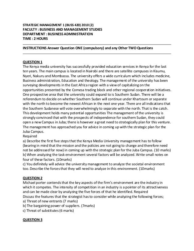 STRATEGIC MANAGEMENT 1 (BUSS 420) 2010 (2)  FACULTY : BUSINESS AND MANAGEMENT STUDIES DEPARTMENT : BUSINESS ADMINISTRATION...