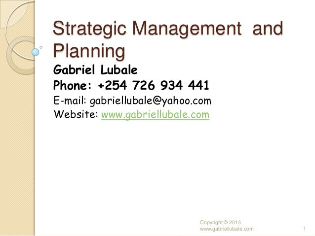 Strategic management and planning in the public service of kenya