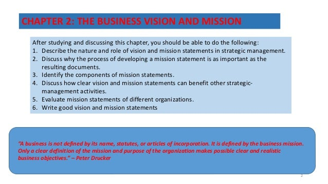 the nature and role of vision and mission statements in the strategic management process The reason why it is important that a mission statement and vision statement are not confused is because they both serve then the process of creating the mission statement could be seen as a waste of time for all of the us federal emergency management agency's mission statement poster.