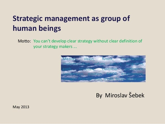 Strategic management as group of human beings
