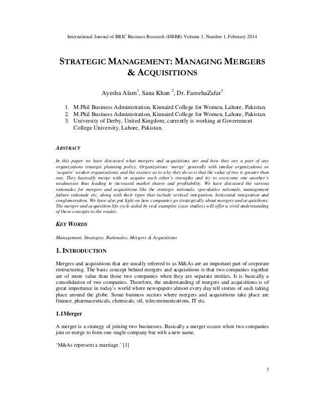 International Journal of BRIC Business Research (IJBBR) Volume 3, Number 1, February 2014 1 STRATEGIC MANAGEMENT: MANAGING...
