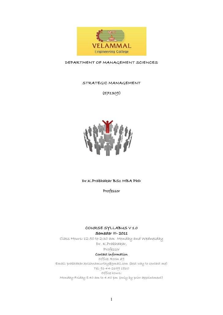 DEPARTMENT OF MANAGEMENT SCIENCES               STRATEGIC MANAGEMENT                           (571309)               Dr.K...