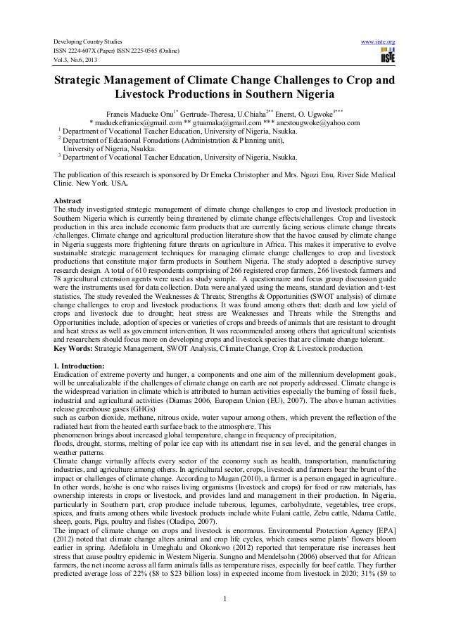 Developing Country Studies www.iiste.org ISSN 2224-607X (Paper) ISSN 2225-0565 (Online) Vol.3, No.6, 2013 1 Strategic Mana...