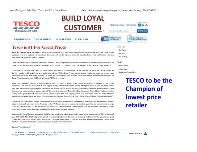 tescos aims and objective