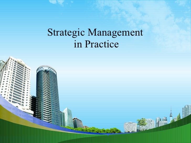 Strategic Management  in Practice