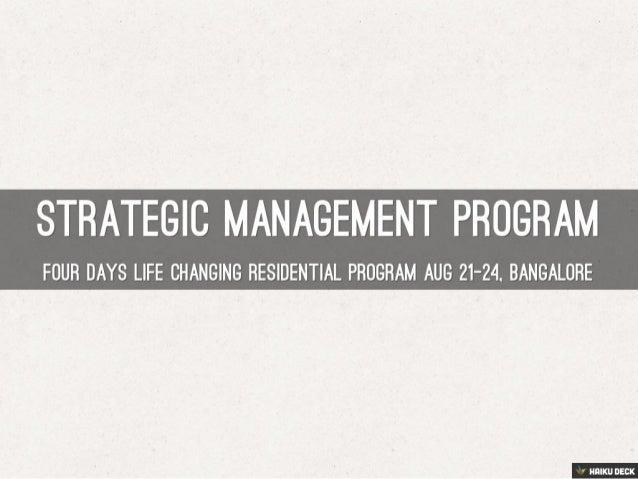 Strategic Management Program