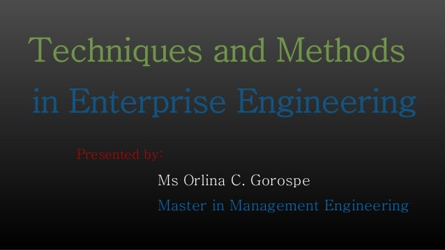 Presented by: Ms Orlina C. Gorospe Master in Management Engineering