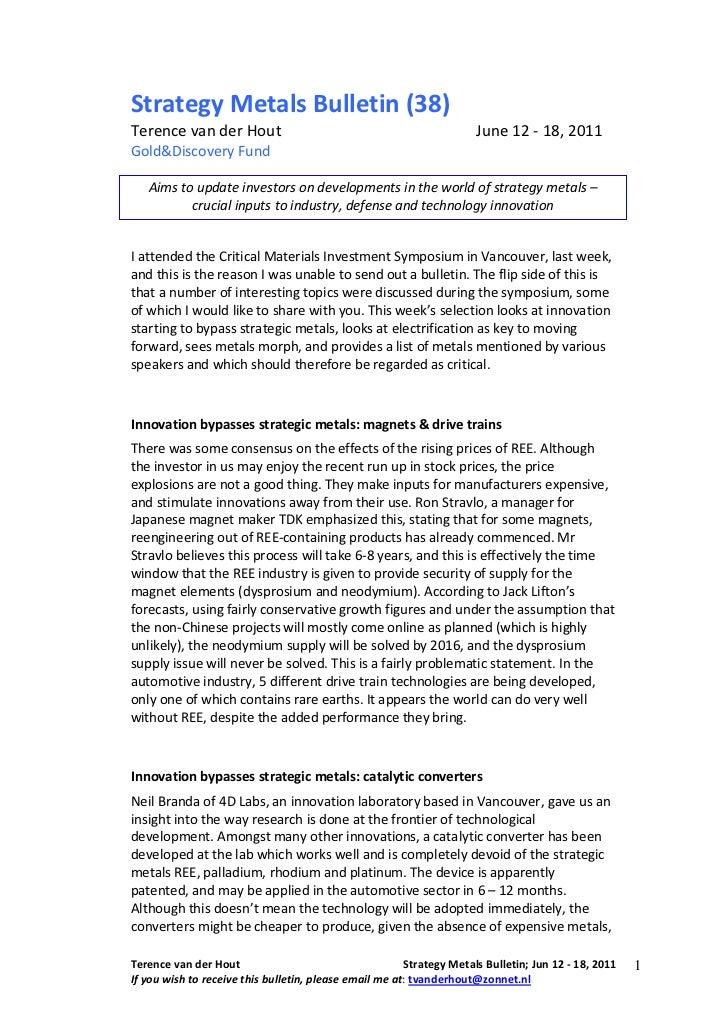 Strategy Metals Bulletin (38)Terence van der Hout                                                  June 12 - 18, 2011Gold&...