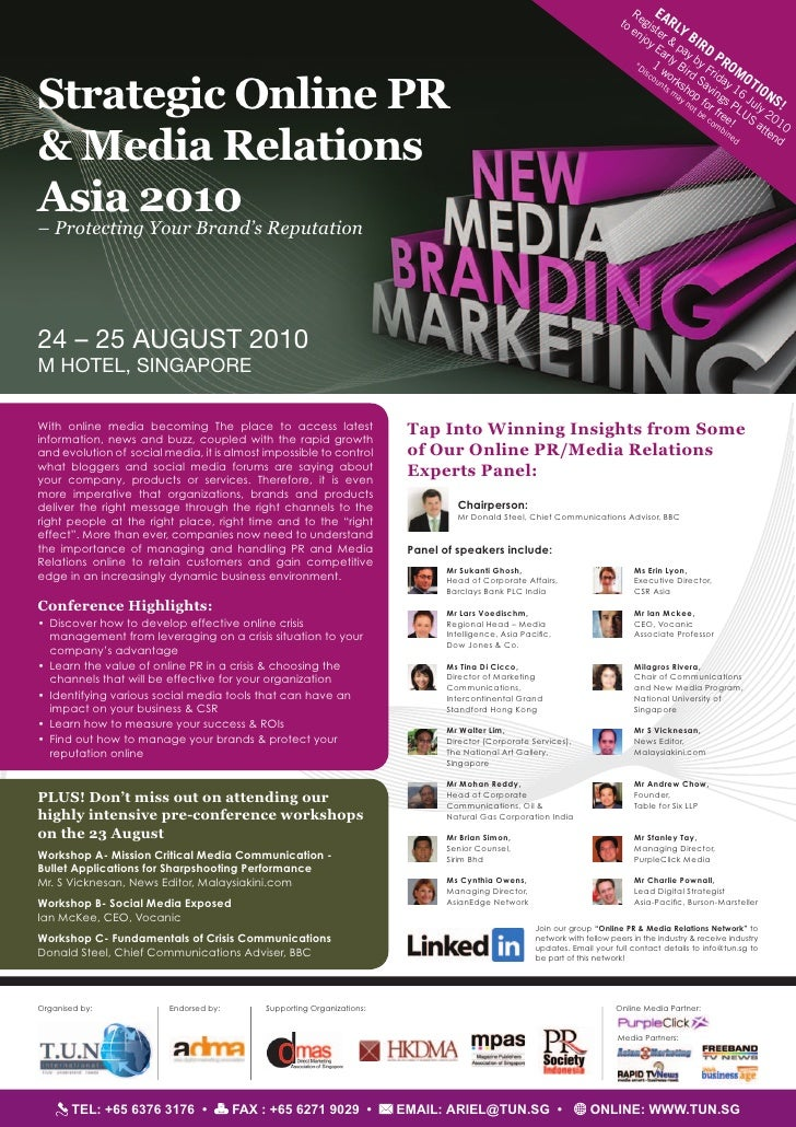 Strategic Online PR & Media Relations Conference (24-25 Aug 2010)