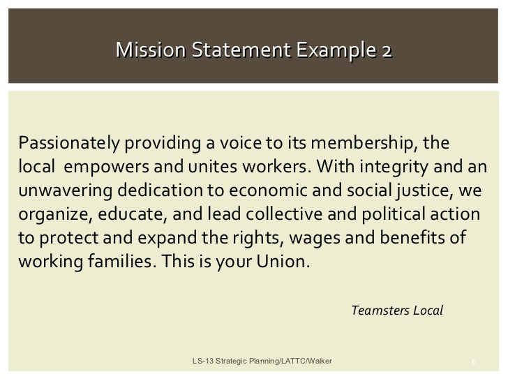 statement strategic and mission planning