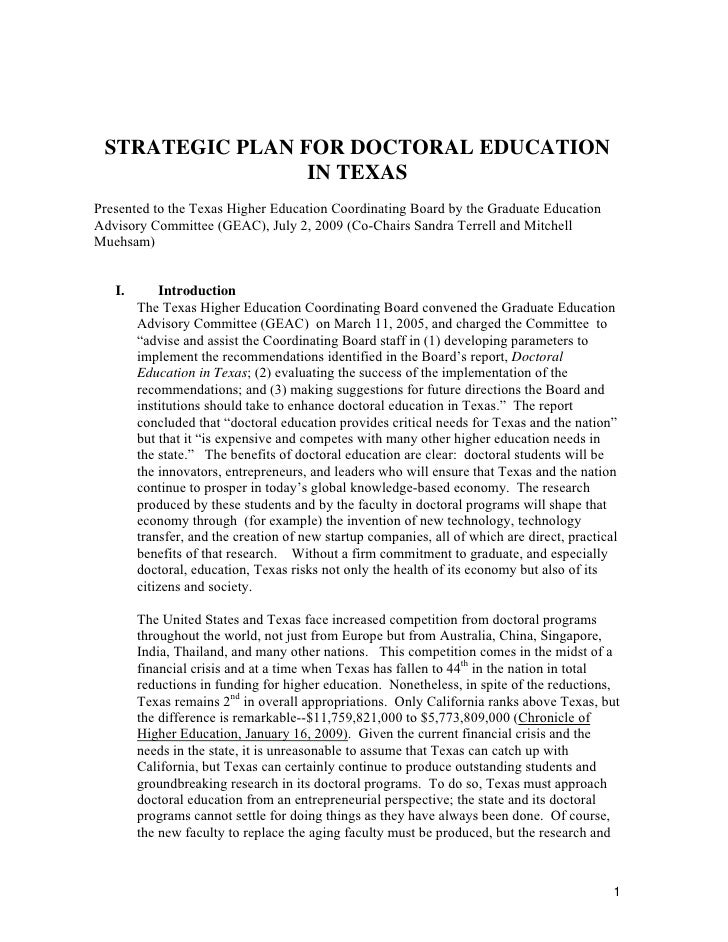 STRATEGIC PLAN FOR DOCTORAL EDUCATION                  IN TEXAS Presented to the Texas Higher Education Coordinating Board...