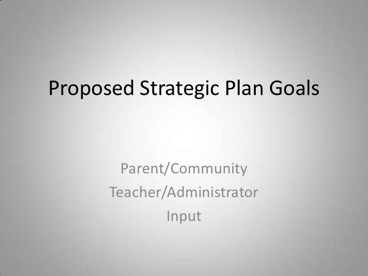 Proposed Strategic Plan Goals<br />Parent/Community<br />Teacher/Administrator <br />Input<br />