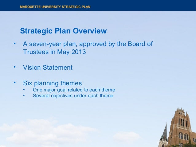 Strategic Plan Overview MARQUETTE UNIVERSITY STRATEGIC PLAN • A seven-year plan, approved by the Board of Trustees in May ...