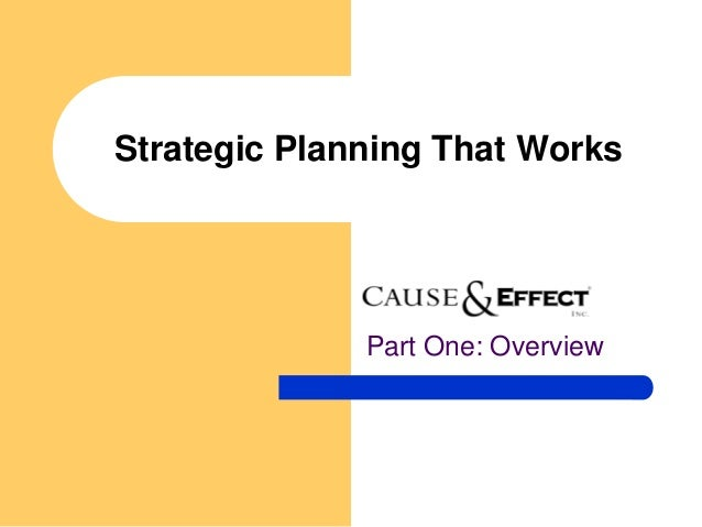 Strategic Planning That Works              Part One: Overview