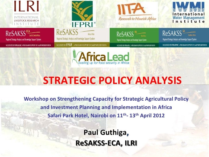 STRATEGIC POLICY ANALYSISWorkshop on Strengthening Capacity for Strategic Agricultural Policy     and Investment Planning ...