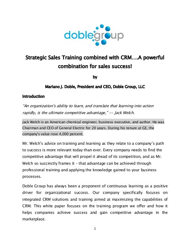 Strategic Sales Training combined with CRM...Doble Group White Paper@2013