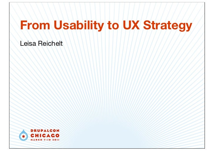 From Usability to UX Strategy