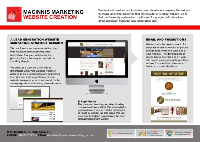 MACINNIS MARKETING WEBSITE CREATION  We work with well known Australian web developer company Bloomtools to create an onli...