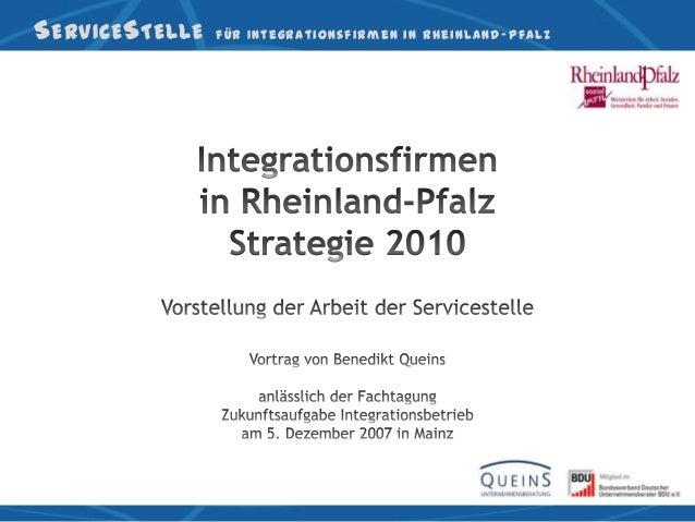 S ERVICE S TELLE   für Integrationsfirmen in Rheinland -Pfalz