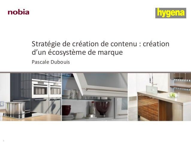 Stratégie de création de contenu : création d'un écosystème de marque Pascale Dubouis 1