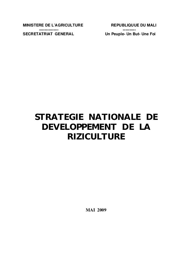 Strategie nationale pour le developpement de la riziculture au Mali