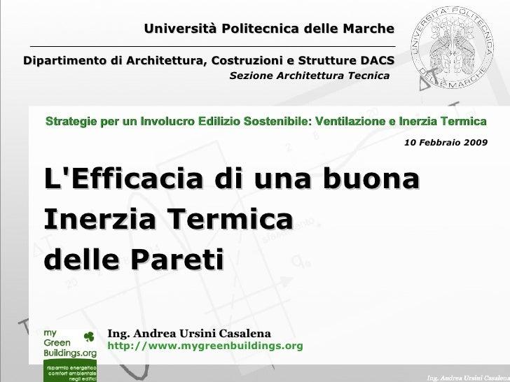 Università Politecnica delle Marche Dipartimento di Architettura, Costruzioni e Strutture DACS Sezione Architettura Tecnic...