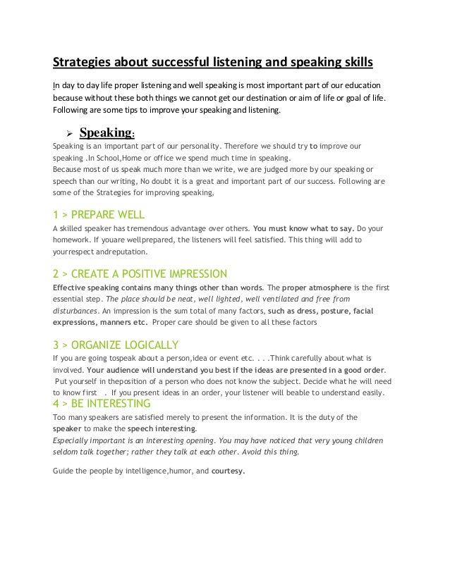 Strategies about successful listening and speaking skills Assignment