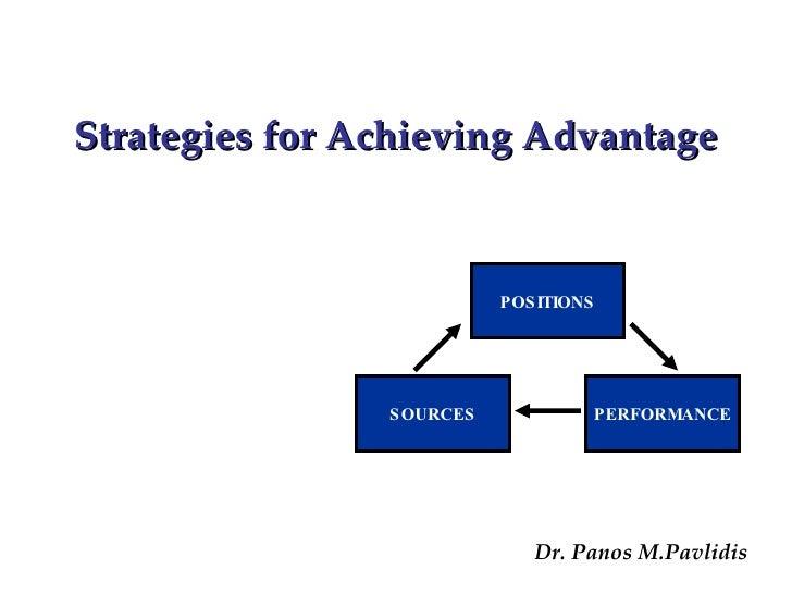 Dr. Panos M.Pavlidis Strategies for Achieving Advantage POSITIONS SOURCES PERFORMANCE