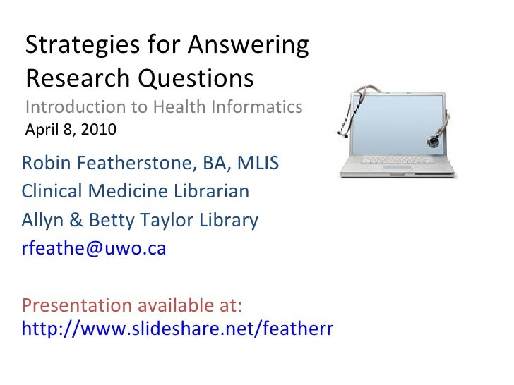 Strategies For Answering Research Questions