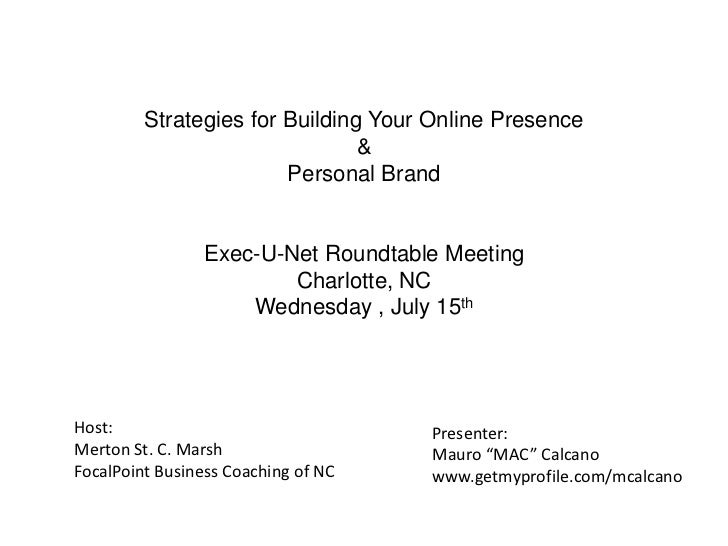 Strategies for Building Your Online Presence                                &                        Personal Brand       ...