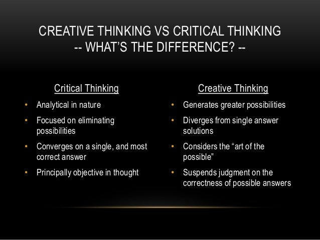 critical and creative thinking essays Mrs fitch's reflective critical thinking essay studying critical and creative thinking critical thinking and creativity are universally recognized as.
