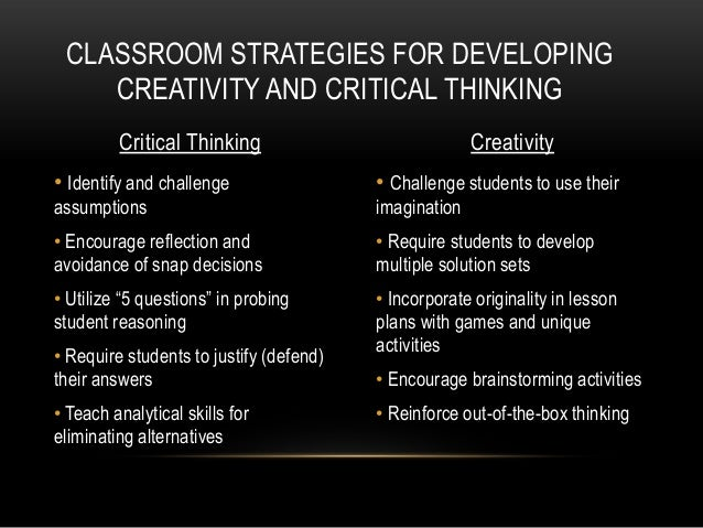 creative and critical thinking quotes Preparing creative and critical thinkers teachers can incorporate instruction in creative and critical thinking into the curriculum in a number of ways.