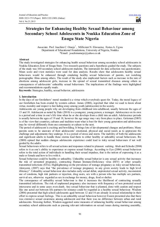 Strategies for enhancing healthy sexual behaviour among secondary school adolescents in nsukka education zone of enugu state nigeria