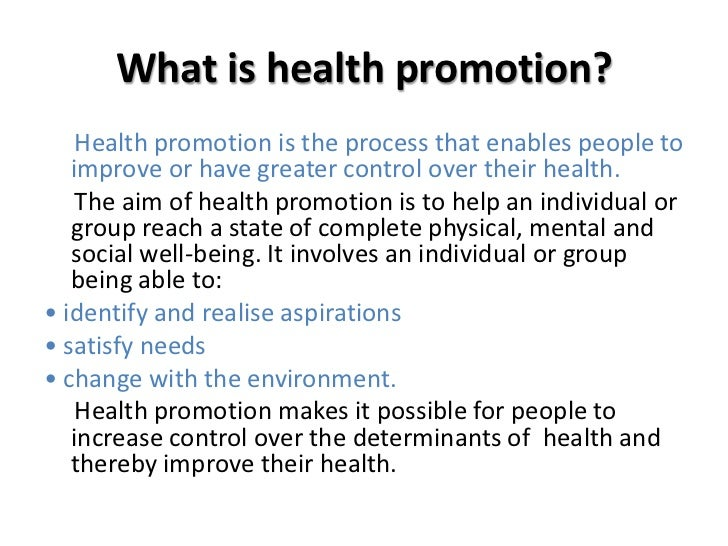 Promoting health and wellbeing essay
