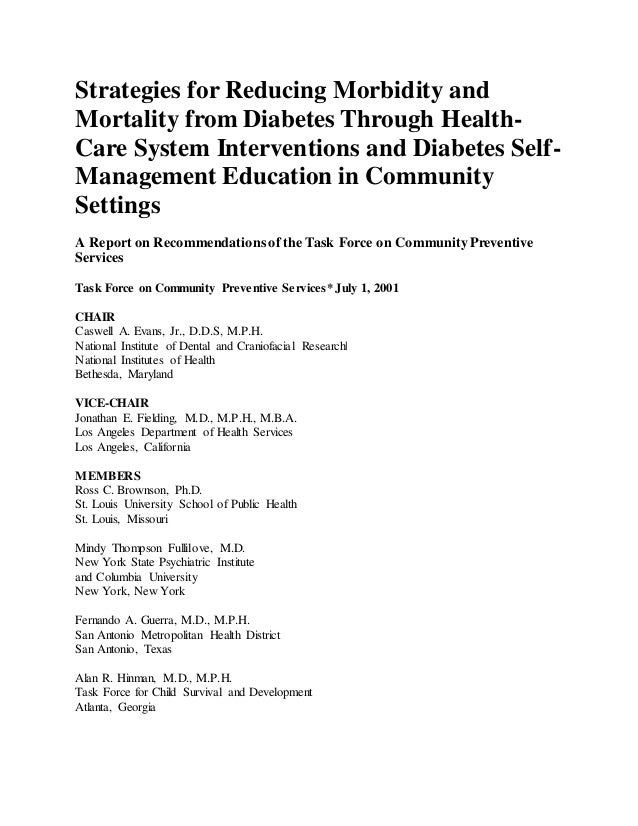Strategies for reducing morbidity and mortality from diabetes through health