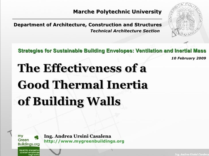 Marche Polytechnic University Department of Architecture, Construction and Structures Technical Architecture Section   The...