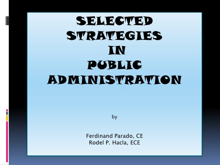 Strategies in Public Administration