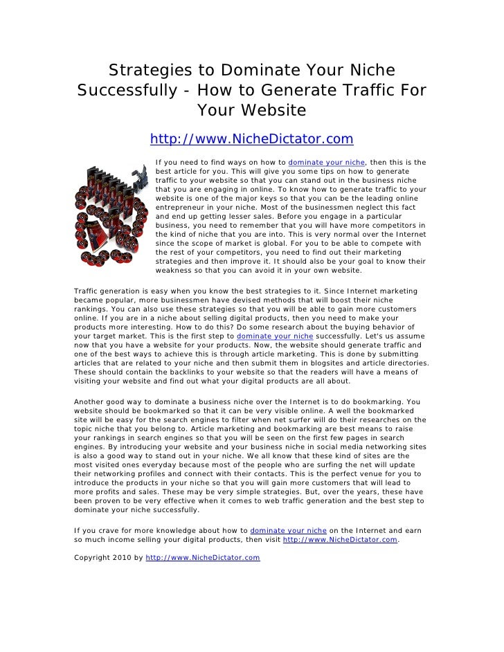Strategies to Dominate Your Niche Successfully - How to Generate Traffic For                Your Website                  ...