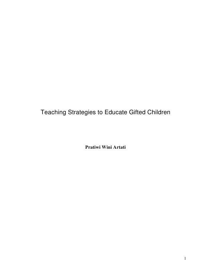 Strategies to educate gifted children