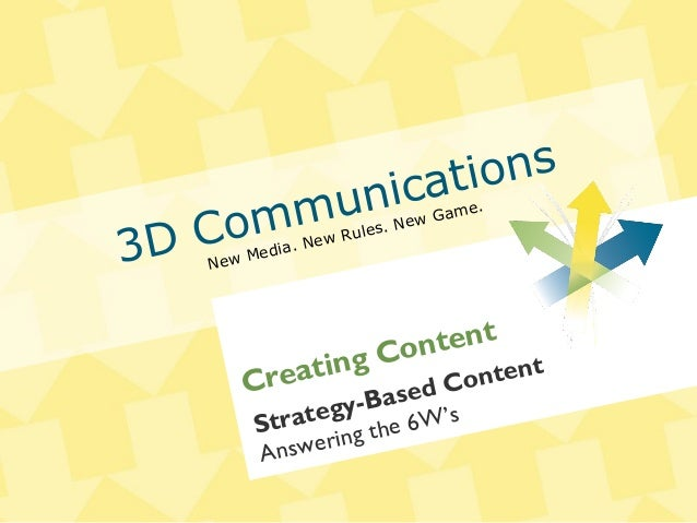 3D Communications New Media. New Rules. New Game. Strategy-Based Content Answering the 6W's Creating Content