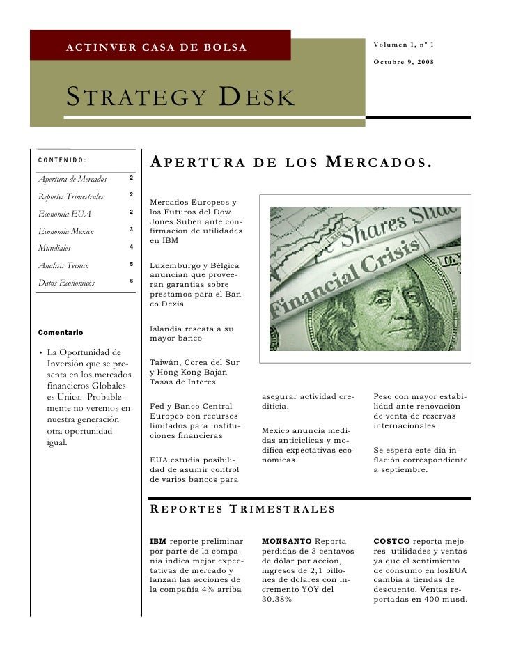 Volumen 1, nº 1          ACTINVER CASA DE BOLSA                                                                           ...