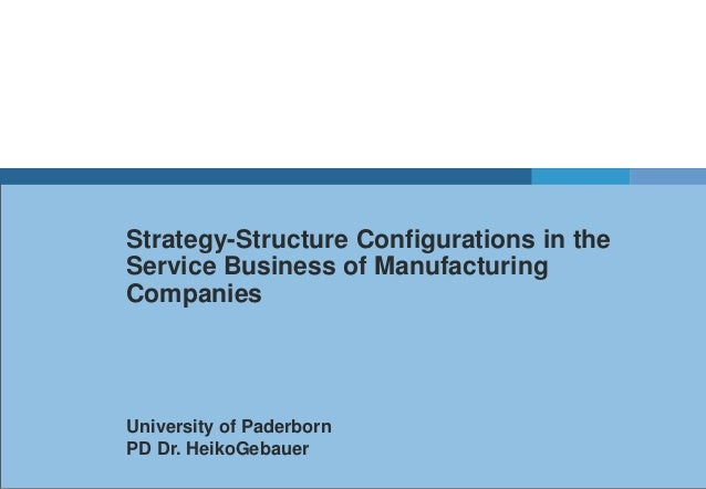 Strategy-Structure Configurations in the Service Business of Manufacturing Companies  University of Paderborn PD Dr. Heiko...