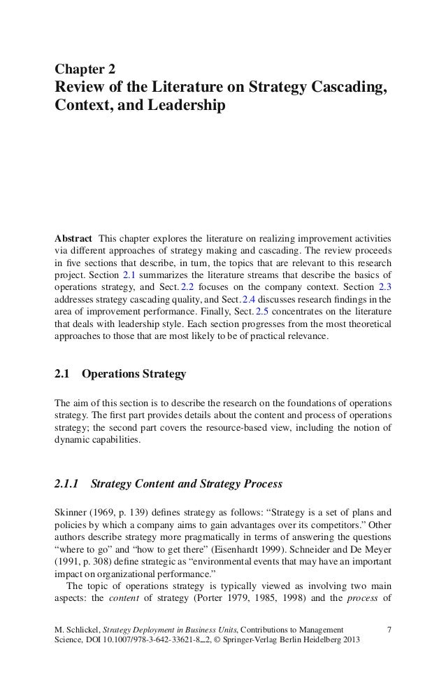 Chapter 2Review of the Literature on Strategy Cascading,Context, and LeadershipAbstract This chapter explores the literatu...