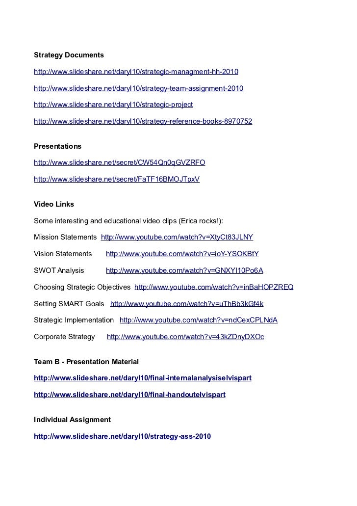 Strategy Documentshttp://www.slideshare.net/daryl10/strategic-managment-hh-2010http://www.slideshare.net/daryl10/strategy-...